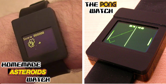 Two Homemade Classic Arcade Game Watches.